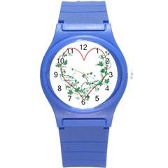 Heart Ranke Nature Romance Plant Round Plastic Sport Watch (s) by Simbadda