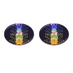 Chakra Spiritual Flower Energy Cufflinks (oval) by Simbadda