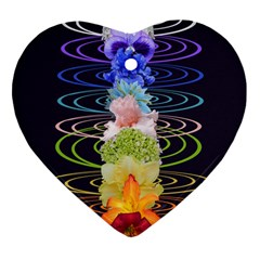 Chakra Spiritual Flower Energy Heart Ornament (two Sides) by Simbadda
