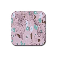 Background Texture Flowers Leaves Buds Rubber Coaster (square)  by Simbadda