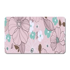 Background Texture Flowers Leaves Buds Magnet (rectangular) by Simbadda