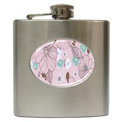 Background Texture Flowers Leaves Buds Hip Flask (6 Oz) by Simbadda