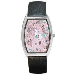 Background Texture Flowers Leaves Buds Barrel Style Metal Watch by Simbadda
