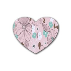 Background Texture Flowers Leaves Buds Rubber Coaster (heart)  by Simbadda