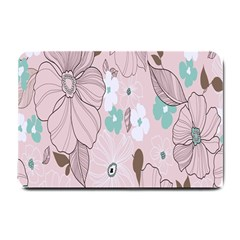 Background Texture Flowers Leaves Buds Small Doormat  by Simbadda