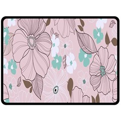 Background Texture Flowers Leaves Buds Fleece Blanket (large)  by Simbadda