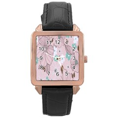 Background Texture Flowers Leaves Buds Rose Gold Leather Watch  by Simbadda