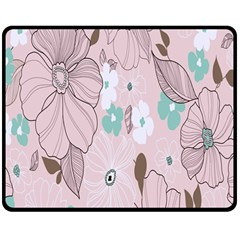 Background Texture Flowers Leaves Buds Double Sided Fleece Blanket (medium)  by Simbadda