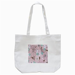 Background Texture Flowers Leaves Buds Tote Bag (white) by Simbadda
