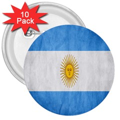 Argentina Texture Background 3  Buttons (10 Pack)  by Simbadda
