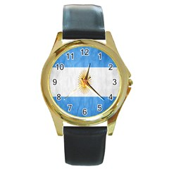 Argentina Texture Background Round Gold Metal Watch by Simbadda