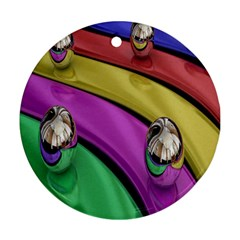 Balloons Colorful Rainbow Metal Round Ornament (two Sides) by Simbadda