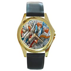 Abstraction Imagination City District Building Graffiti Round Gold Metal Watch by Simbadda