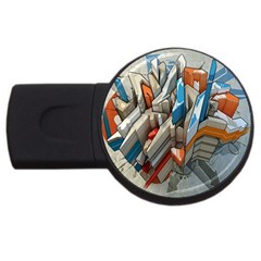 Abstraction Imagination City District Building Graffiti Usb Flash Drive Round (4 Gb) by Simbadda