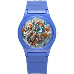 Abstraction Imagination City District Building Graffiti Round Plastic Sport Watch (s) by Simbadda