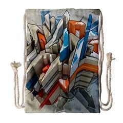 Abstraction Imagination City District Building Graffiti Drawstring Bag (large) by Simbadda