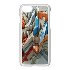 Abstraction Imagination City District Building Graffiti Apple Iphone 7 Seamless Case (white) by Simbadda