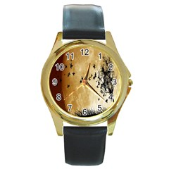 Birds Sky Planet Moon Shadow Round Gold Metal Watch by Simbadda
