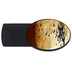 Birds Sky Planet Moon Shadow Usb Flash Drive Oval (2 Gb) by Simbadda