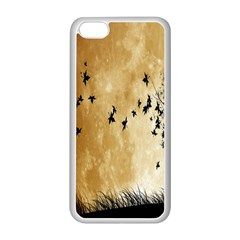 Birds Sky Planet Moon Shadow Apple Iphone 5c Seamless Case (white) by Simbadda
