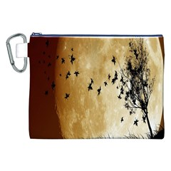 Birds Sky Planet Moon Shadow Canvas Cosmetic Bag (xxl) by Simbadda