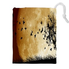 Birds Sky Planet Moon Shadow Drawstring Pouches (xxl) by Simbadda