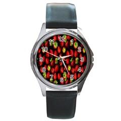 Berry Strawberry Many Round Metal Watch by Simbadda