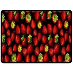 Berry Strawberry Many Double Sided Fleece Blanket (large)  by Simbadda