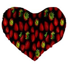 Berry Strawberry Many Large 19  Premium Flano Heart Shape Cushions by Simbadda