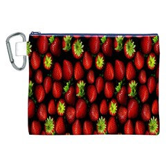 Berry Strawberry Many Canvas Cosmetic Bag (xxl) by Simbadda