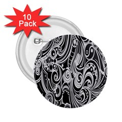 Black White Pattern Shape Patterns 2 25  Buttons (10 Pack)  by Simbadda
