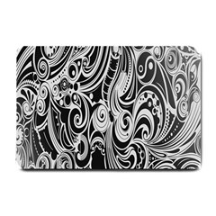 Black White Pattern Shape Patterns Small Doormat  by Simbadda