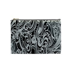 Black White Pattern Shape Patterns Cosmetic Bag (medium)  by Simbadda