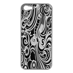 Black White Pattern Shape Patterns Apple Iphone 5 Case (silver) by Simbadda