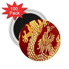 Fabric Pattern Dragon Embroidery Texture 2 25  Magnets (100 Pack)  by Simbadda