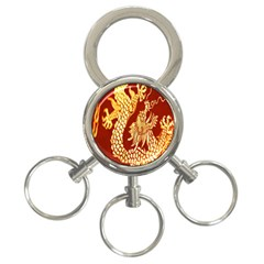 Fabric Pattern Dragon Embroidery Texture 3 Ring Key Chains by Simbadda