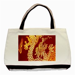 Fabric Pattern Dragon Embroidery Texture Basic Tote Bag by Simbadda