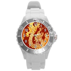 Fabric Pattern Dragon Embroidery Texture Round Plastic Sport Watch (l) by Simbadda