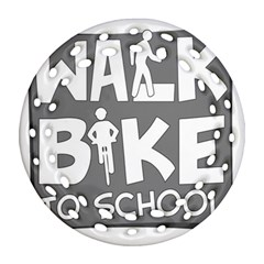 Bicycle Walk Bike School Sign Grey Ornament (round Filigree) by Alisyart