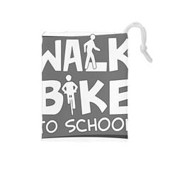 Bicycle Walk Bike School Sign Grey Drawstring Pouches (medium)  by Alisyart