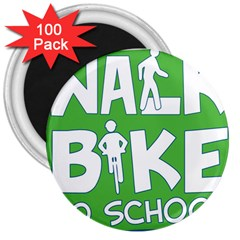 Bicycle Walk Bike School Sign Green Blue 3  Magnets (100 Pack) by Alisyart