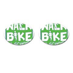 Bicycle Walk Bike School Sign Green Blue Cufflinks (oval) by Alisyart