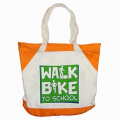 Bicycle Walk Bike School Sign Green Blue Accent Tote Bag by Alisyart