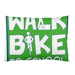 Bicycle Walk Bike School Sign Green Blue Pillow Case by Alisyart