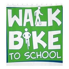 Bicycle Walk Bike School Sign Green Blue Shower Curtain 66  X 72  (large)  by Alisyart