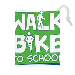 Bicycle Walk Bike School Sign Green Blue Drawstring Pouches (extra Large) by Alisyart