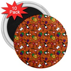 Wine Cheede Fruit Purple Yellow Orange 3  Magnets (10 Pack)  by Alisyart