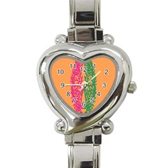 Brian Pink Green Orange Smart Heart Italian Charm Watch