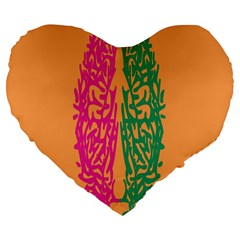 Brian Pink Green Orange Smart Large 19  Premium Flano Heart Shape Cushions by Alisyart