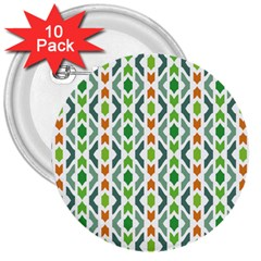 Chevron Wave Green Orange 3  Buttons (10 Pack)  by Alisyart